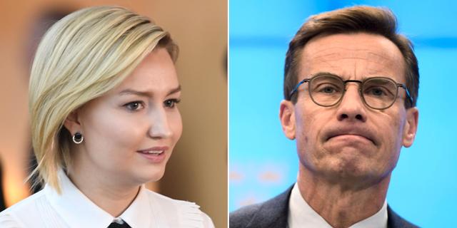 KD-ledaren Ebba Busch Thor och Moderaternas partiledare Ulf Kristersson.  TT