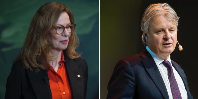 Swedbanks vd Birgitte Bonnesen och Nordeas vd Casper von Koskull.  TT