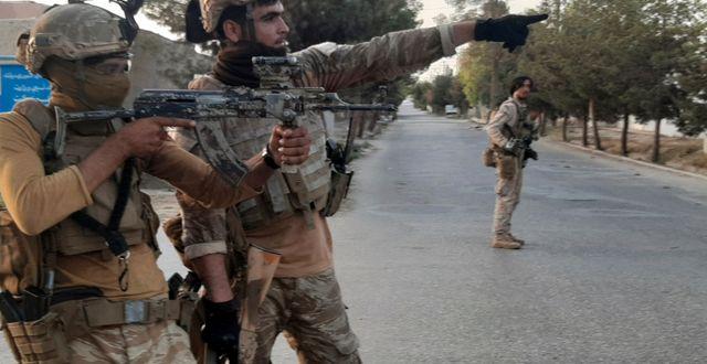 Afghanska soldater i Lashkar Gah. Abdul khaliq / TT NYHETSBYRÅN