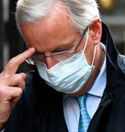 EU:s chefsförhandlare Michel Barnier med delegation mötte sin motpart David Frost i London i onsdags. Alberto Pezzali / TT NYHETSBYRÅN
