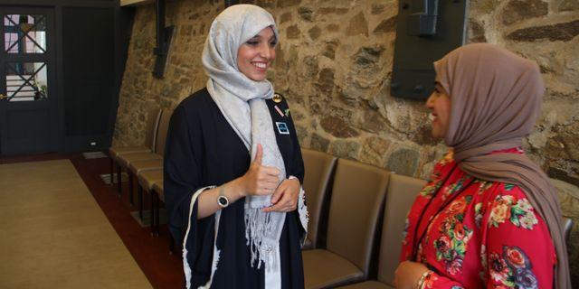 Saudiarabiska entreprenörerna Asmaa Abdallah och Reem Daad. OLIVIA HAMPTON / AFP