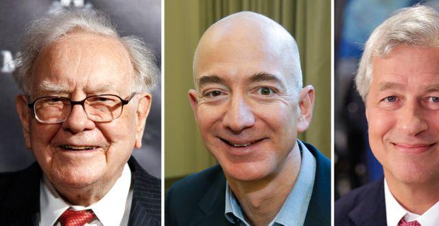 De tre bolagens chefer: Berkshires Warren Buffett, Amazons Jeff Bezos och JPMorgans Jamie Dimon. TT NYHETSBYRÅN