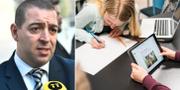 Roger Haddad (L)/Unga i klassrum TT