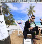 Oxfam-aktivister protesterar mot EU:s svarta lista.  EMMANUEL DUNAND / AFP