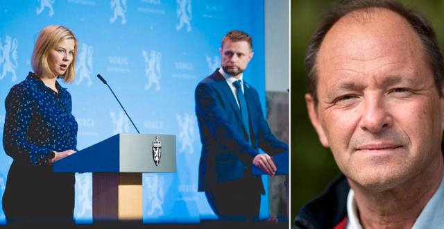 Norges utbildnings- och hälsoministrar på en pressträff (t v), Björn Olsen (t h) TT