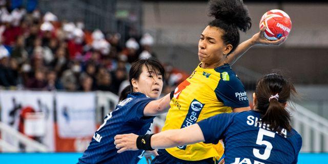 Jamina Roberts i matchen mot Japan. LUDVIG THUNMAN / BILDBYRÅN