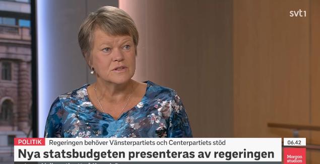 Ulla Andersson i Morgonstudion. SVT