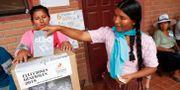 En kvinna lägger sin röst i Bolivia. Juan Karita / TT NYHETSBYRÅN