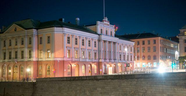 Utrikesdepartementet, UD, i Arvfurstens palats fotograferat på natten. Arkivbild. Fredrik Sandberg/TT / TT NYHETSBYRÅN