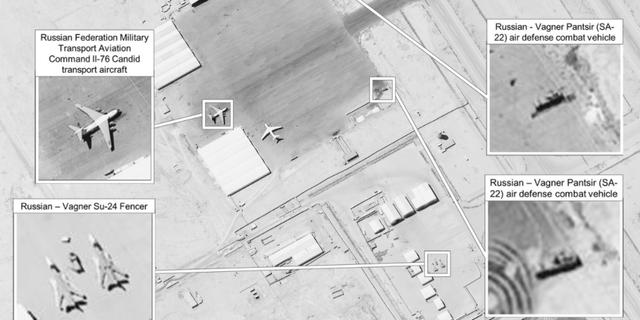 Satellitbilder över ryska leveransen, enligt Africom. U.S. Africa Command.