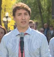 Skärmdump på Justin Trudeau. Global News