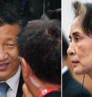 Xi Jinping och  Aung San Suu Kyi.  TT