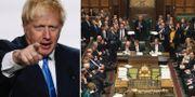 Boris Johnson och det brittiska underhuset.  AP/TT