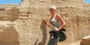 Maria Nilsson vid en tidigare utgrävning.  TT