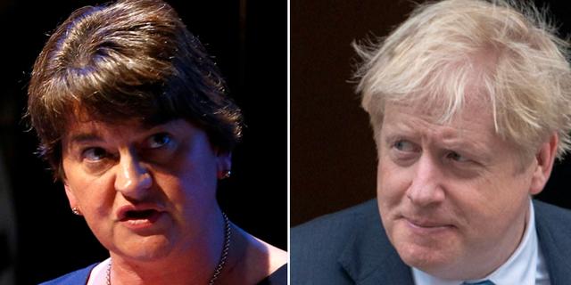DUP-ledaren Arlene Foster / Boris Johnson. TT