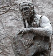 Illustrationsbild: Snö på statyn över musikern Willie Nelson i Austin, Texas.  Jay Janner / TT NYHETSBYRÅN