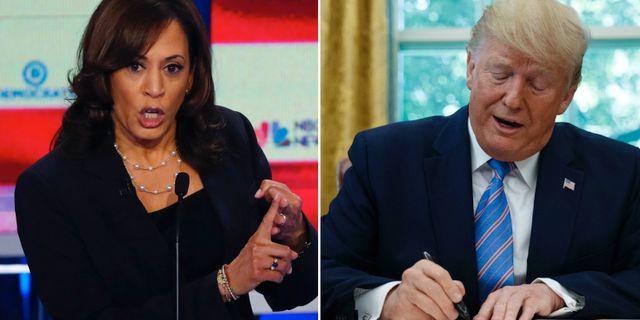 Kamala Harris, senator i Kalifornien och USA:s president Donald Trump.  AP