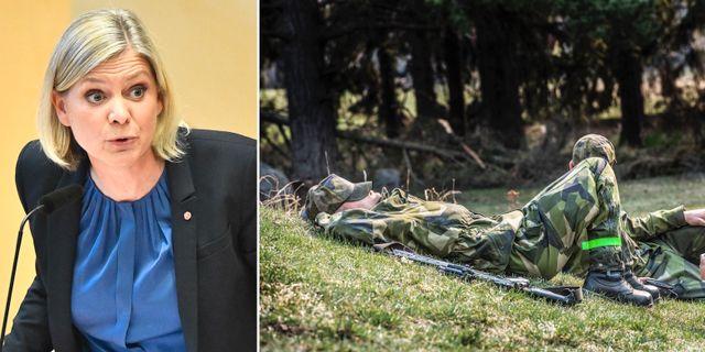 Arkivbilder: Magdalena Andersson, Värnpliktiga tar en paus i gräset. TT