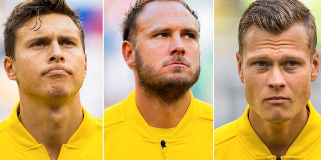 Victor Nilsson Lindelöf, Andreas Granqvist och Viktor Claesson.  Bildbyrån.