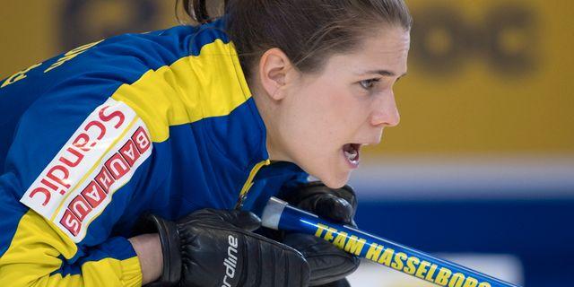 Anna Hasselborg under semifinalen. Paul Chiasson / TT NYHETSBYRÅN