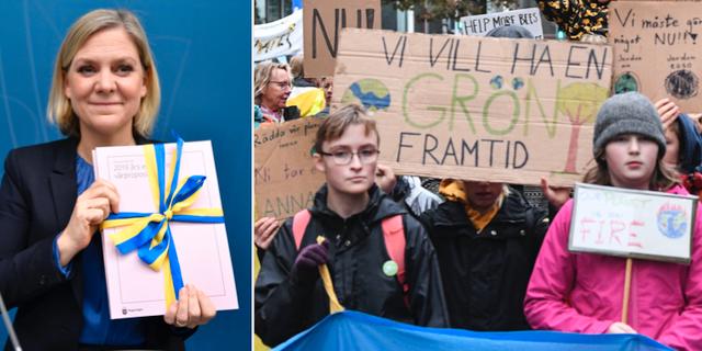 Finansminister Magdalena Andersson/Klimatdemonstration i Malmö. TT