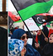 Khalifa Haftar under mötet i Ryssland i veckan/tidigare protester mot Haftar i Tripoli.