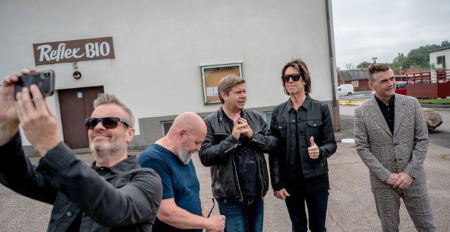 Gyllene Tider. Fr. v. Micke Syd Andersson, Göran Fritzon, Mats MP Persson, Per Gessle och Anders Herrlin. Björn Larsson Rosvall/TT / TT NYHETSBYRÅN