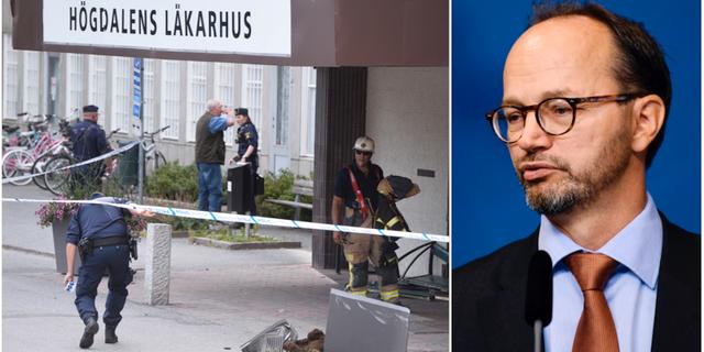 Trafikolycka i södra Stockholm där en äldre förare var inblandad. Infrastrukturminister Tomas Eneroth (S). Arkivbilder.