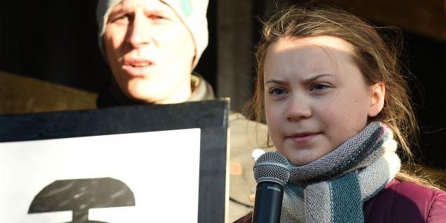 Greta Thunberg under klimatmötet i Polen.  JANEK SKARZYNSKI / AFP