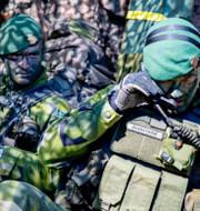 Bild från försvarsövning/Saila Quicklund (M). TT/riksdagen