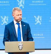 Norska regeringens presskonferens.  Annika Byrde / TT NYHETSBYRÅN