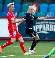 Nilla Fischer, Stina Blackstenius och Matilda Haglund i en match. Arkivbild.  Thomas Johansson/TT / TT NYHETSBYRÅN