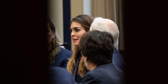 Hope Hicks under utfrågningen.  NICHOLAS KAMM / AFP
