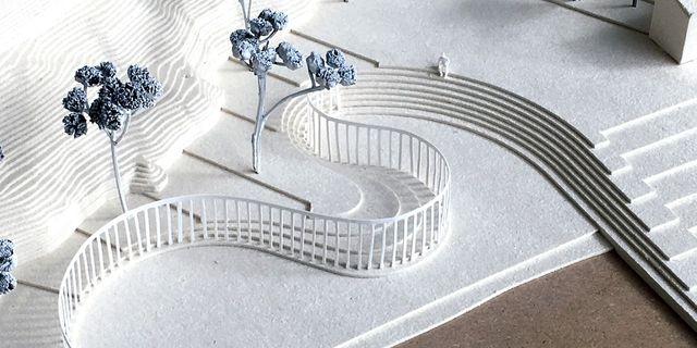Modell över hur minnesmonumentet ska se ut. Norska Statsbygg.