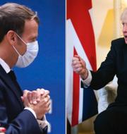 Danmarks statsminister Mette Frederiksen och Frankrikes president Emmanuel Macron på EU-toppmötet samt Boris Johnson.