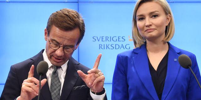 Ulf Kristersson och Ebba Busch Thor.  Henrik Montgomery/TT / TT NYHETSBYRÅN