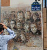 Minnesplats för offren på Charlie Hebdo. Michel Euler / TT NYHETSBYRÅN