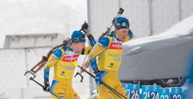 Sveriges Martin Ponsiluoma och Sebastian Samuelsson under gårdagens träning.  Fredrik Sandberg/TT / TT NYHETSBYRÅN