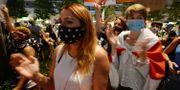 Protester mot valresultatet i Belrus. Czarek Sokolowski / TT NYHETSBYRÅN