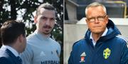 Zlatan Ibrahimovic och Janne Andersson. TT