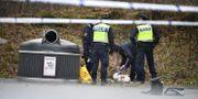 Polisen vid brottsplatsen.  Björn Larsson Rosvall/TT / TT NYHETSBYRÅN