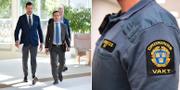 Johan Forssell (M) och Ulf Kristersson (M) i samband med att ordningsvaktsförslaget presenterades igår. TT