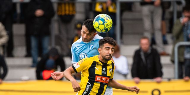 Häckens Daleho Irandust och Malmö FF:s Lasse Nielsen. CARL SANDIN / BILDBYRÅN