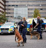 Polis med hundar på plats vid Skånes universitetssjukhus.  TT / TT NYHETSBYRÅN