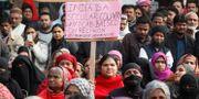 Demonstranter som kritiserar den nya lagen. ADNAN ABIDI / TT NYHETSBYRÅN