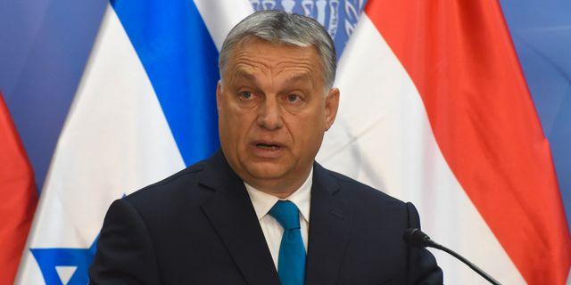 Ungerns premiärminister Viktor Orbán på besök i Israel tidiare i år.  POOL / TT NYHETSBYRÅN