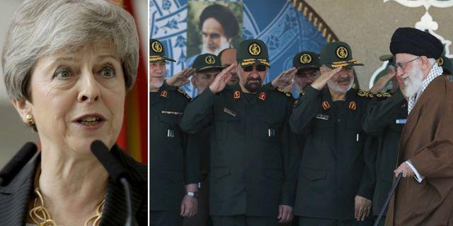 Theresa May/ceremoni från Revolutionsgardet. TT.