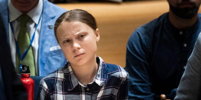 Greta Thunberg på FN:s klimattoppmöte för barn i New York. Pontus Lundahl/TT / TT NYHETSBYRÅN