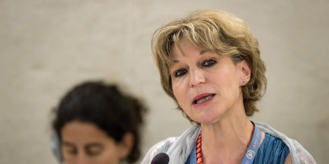 Agnes Callamard har lett FN-utredningen.  FABRICE COFFRINI / AFP