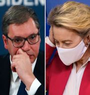 Från vänster: Kinas Xi Jinping, Serbiens Aleksandar Vucic, EU:s Ursula von der Leyen och Astra Zenecas vd Pascal Soriot TT
